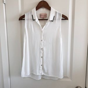 Philosophy white button up tank top blouse medium
